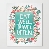 eat well travel often Canvas Prints featuring Eat Well, Travel Often Bouquet  by Cat Coquillette