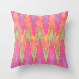 Bright Colorful Funky Retro Zigzag Waves Pattern Throw Pillow