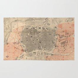 Vintage Map of Madrid Spain (1861) Rug