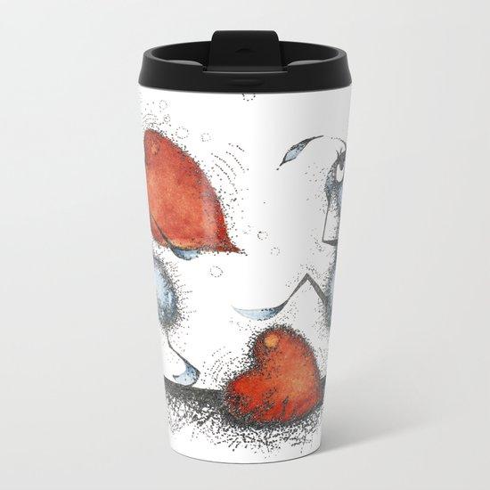 Two ants with hearts Metal Travel Mug