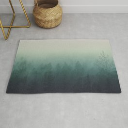 trees in fog forest landscape photography - cloudy nature Rug