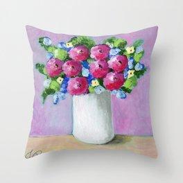 Pink Bouquet Throw Pillow