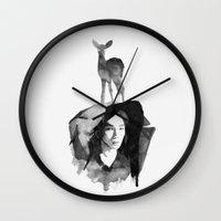 shinee Wall Clocks featuring deer by helenwidjaja
