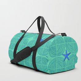Blue starfish on green sand Duffle Bag