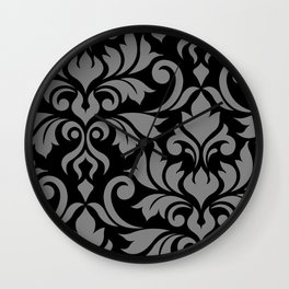 Flourish Damask Art I Gray on Black Wall Clock