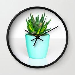 Minimalist, Cactus, Aloe, Vera, Turquoise, Pot Wall Clock
