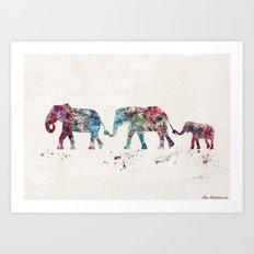 Elephants Art Print