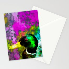 mallard duck with pink blue green yellow painting abstract background Stationery Cards
