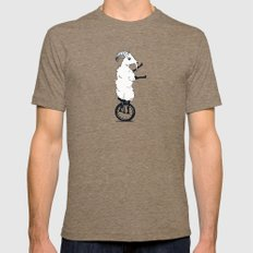 Goat on a Unicycle Mens Fitted Tee Tri-Coffee SMALL