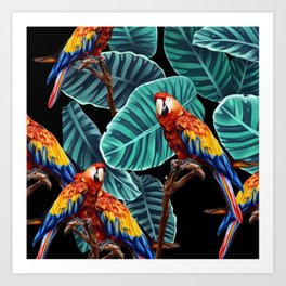 tropical leaves macaw pattern 2 Art Print