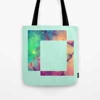 decal Tote Bags featuring Space Decal by artii