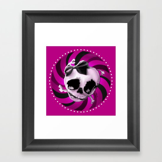 Girly Pink Skull with Black Bow Framed Art Print