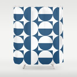 Mid century white and blue Shower Curtain