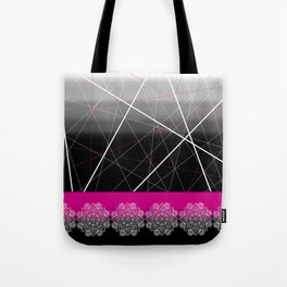 Pink Black White Chalk Art Mandala Tote Bag