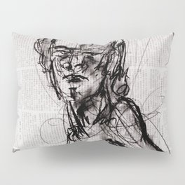 Saint - Charcoal on Newspaper Figure Drawing Pillow Sham