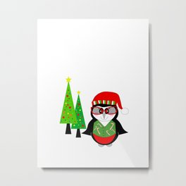 Have A Cool Penguin Merry Christmas Metal Print