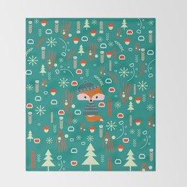 Cute fox waiting for Christmas Throw Blanket