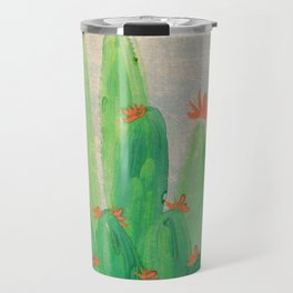 Cactus garden with orange flowers Travel Mug
