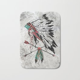 chieftain feather headdress Bath Mat
