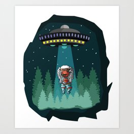 Dinosaur Astronaut UFO T-Rex Art Print