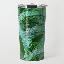 ABSTRACTED BLUE-GREEN TROPICAL PALMS GREEN ART Travel Mug