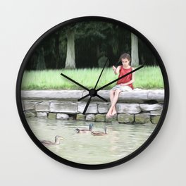 The Girl Who Feeds The Ducks Wall Clock