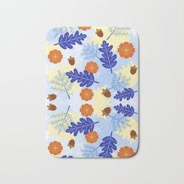 Falling Leaves in Winter Blue Bath Mat