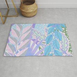 Modern Jungle Plants - Blue, Purple Rug