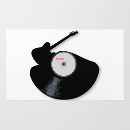 Rock Music Silhouette Record Rug