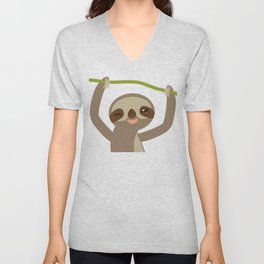 funny and cute smiling Three-toed sloth on green branch 2 Unisex V-Neck