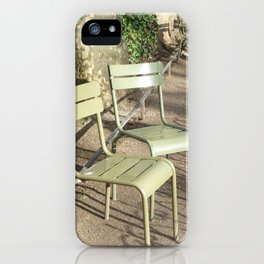 Chairs beside the Medici Fountain, Luxembourg Garden, Paris iPhone Case