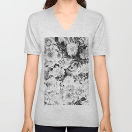 Black gray modern watercolor roses floral pattern Unisex V-Neck