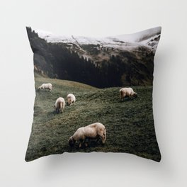 Sheep II / Bavarian Alps Throw Pillow
