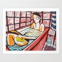 Woman at the bath Art Print
