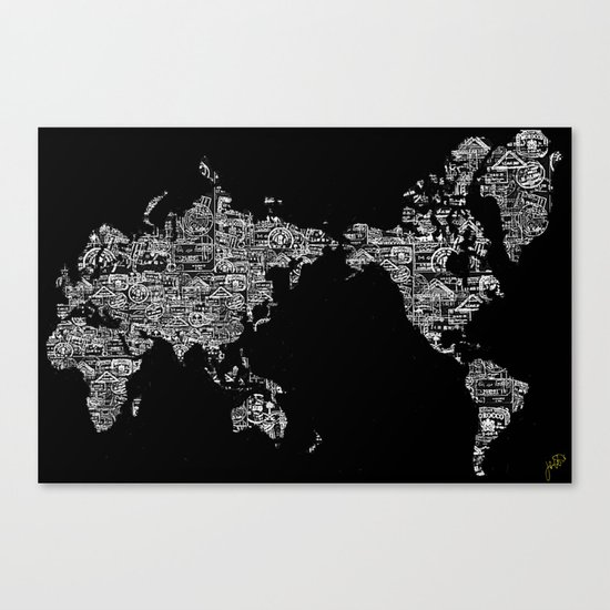 Passport Stamp Map Special Edition, Black and White Canvas Print