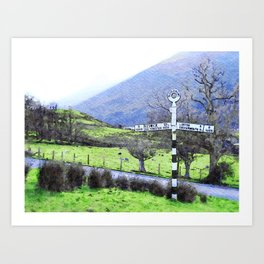 The Sign on the Road to Buttermere, Lake District, UK Watercolour Art Print
