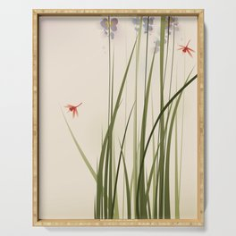 oriental style painting, tall grasses and flowers Serving Tray