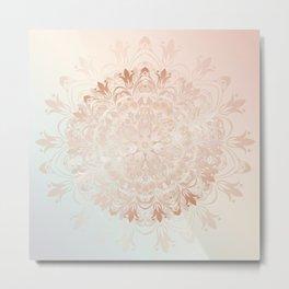 Rose Gold Blush Mint Floral Mandala Metal Print