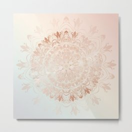 Rose Gold Blush Mint Floral Mandala Metal Print