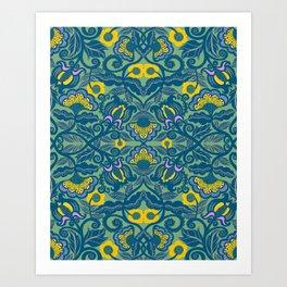 Blue Vines and Folk Art Flowers Pattern Art Print