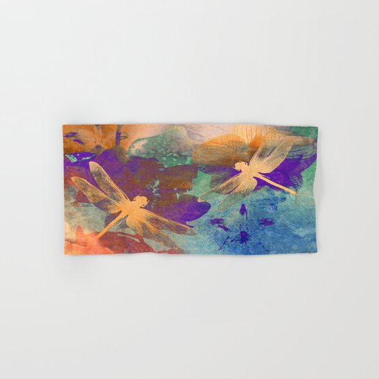 Orange Orange Dragonflies Hand & Bath Towel