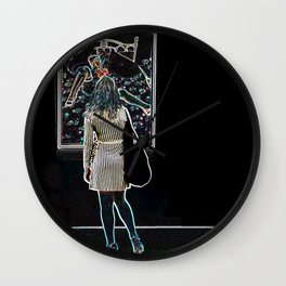 """""""Girl in a gallery"""" Wall Clock"""