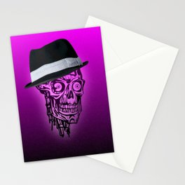 Elegant Skull with hat,hot pink Stationery Cards