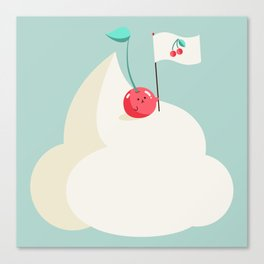 Cherry on top (of the whipped cream mountain) Canvas Print