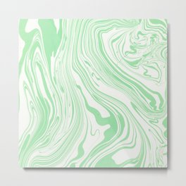 Pastel green white watercolor hand painted marble Metal Print