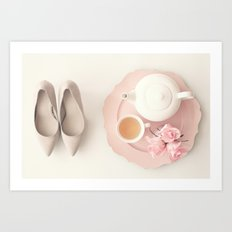 Heels, tea and roses Art Print
