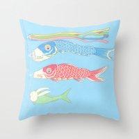 kozyndan Throw Pillows featuring Usagikoinobori by kozyndan