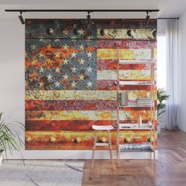 American Flag On Rusted Riveted Metal Door Wall Mural