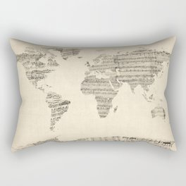 Old Sheet Music World Map Rectangular Pillow