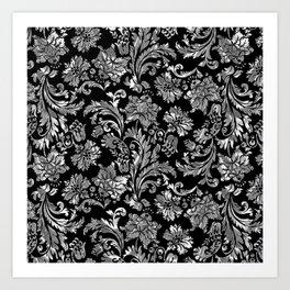 Black & Silver Vintage Floral Damasks Pattern Art Print